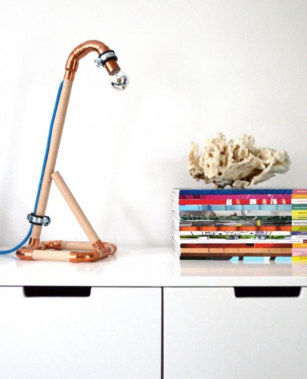 DIY Lampe Kupfer Holz1