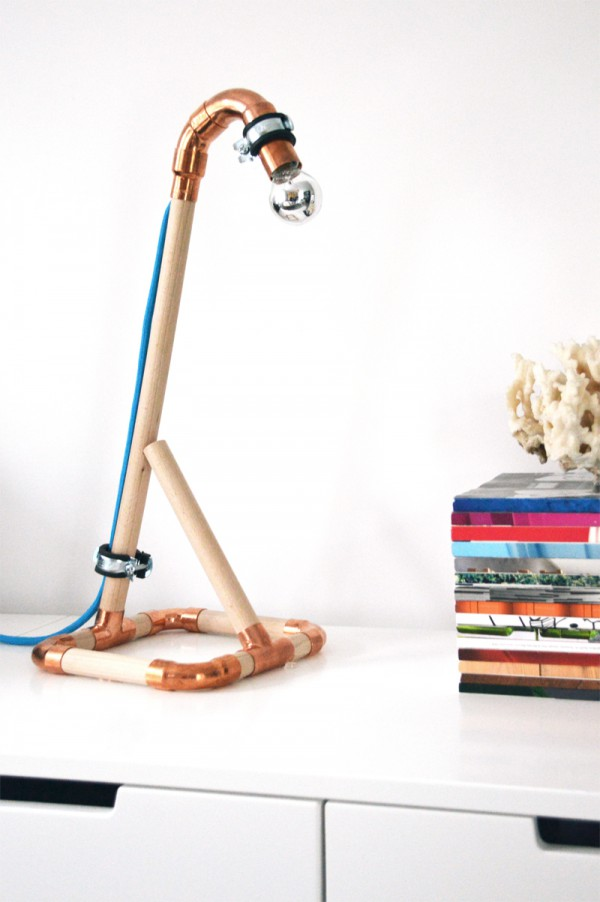 DIY Lampe Kupfer Holz3